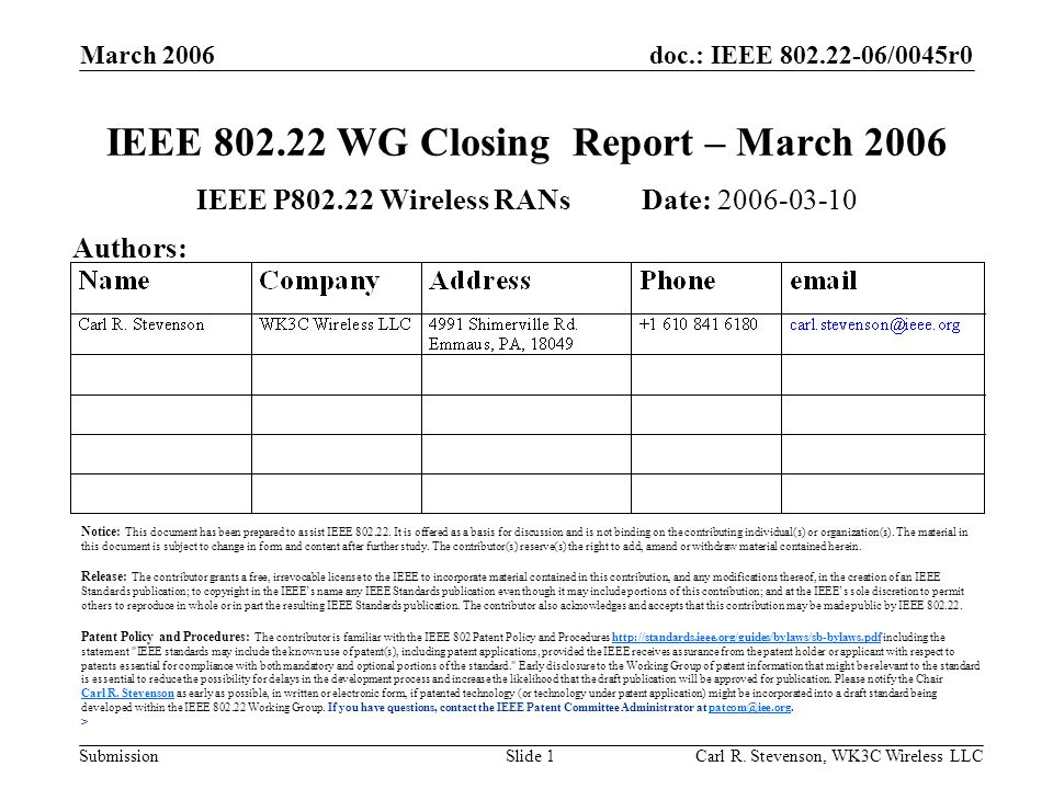 doc.: IEEE /0045r0 Submission March 2006 Carl R.