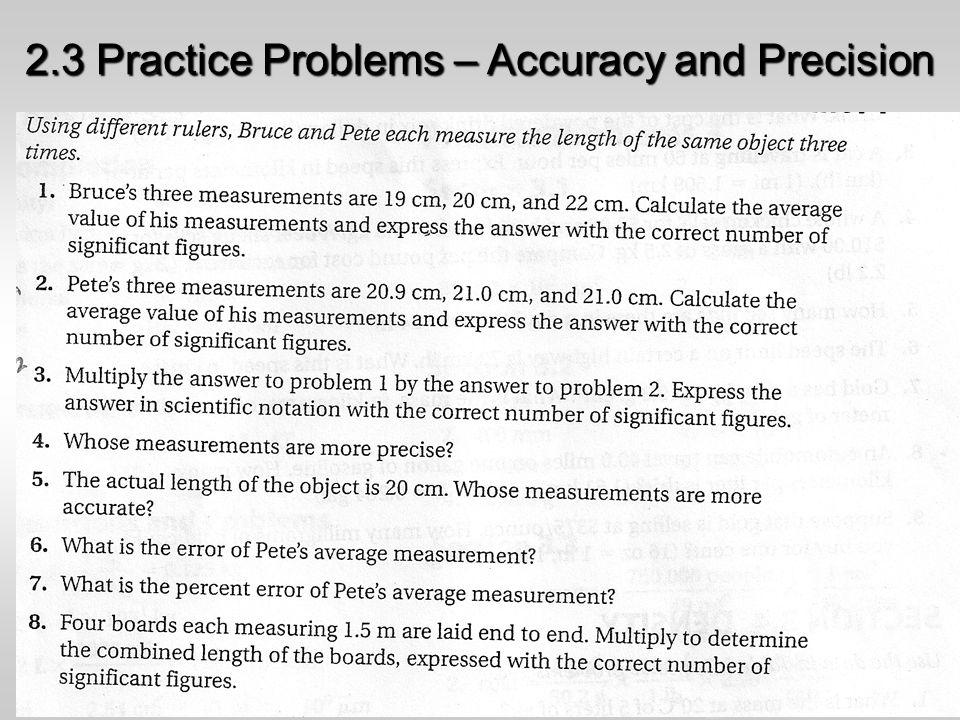 Accuracy and precisionpercent error worksheet answer key