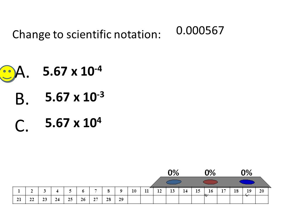 Change to scientific notation: A. B. C.