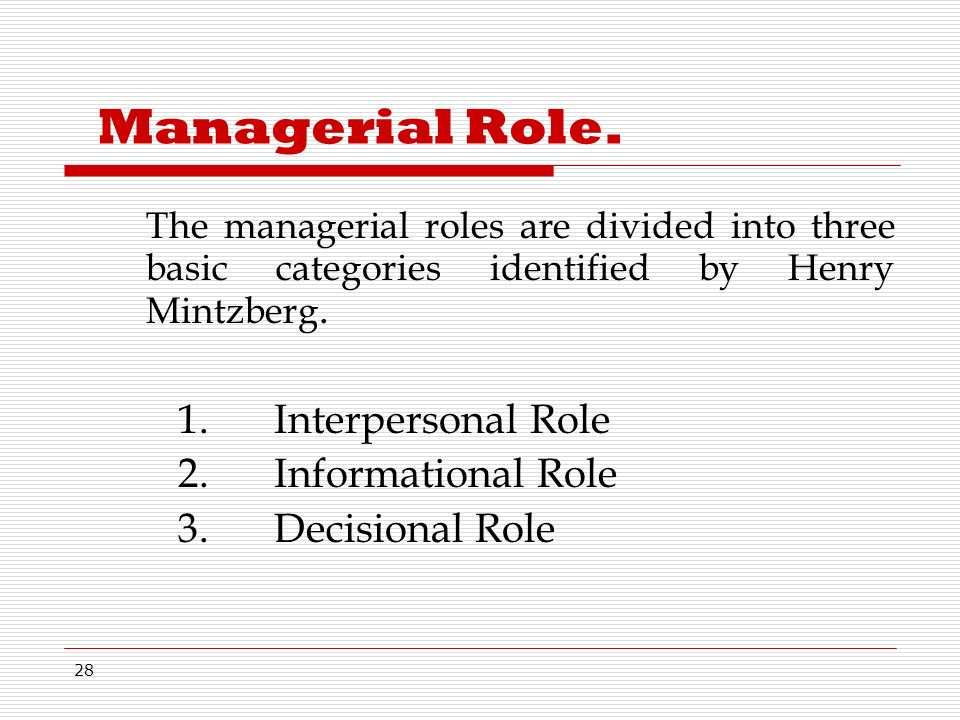 28 Managerial Role.