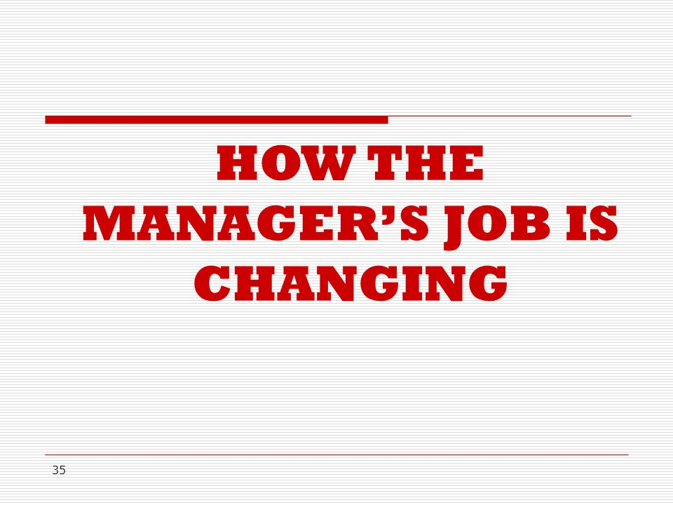 35 HOW THE MANAGER'S JOB IS CHANGING