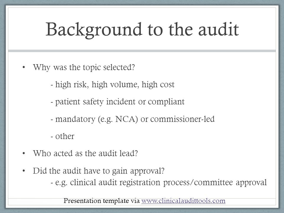 title of clinical audit project name of presenter date of, Presentation templates