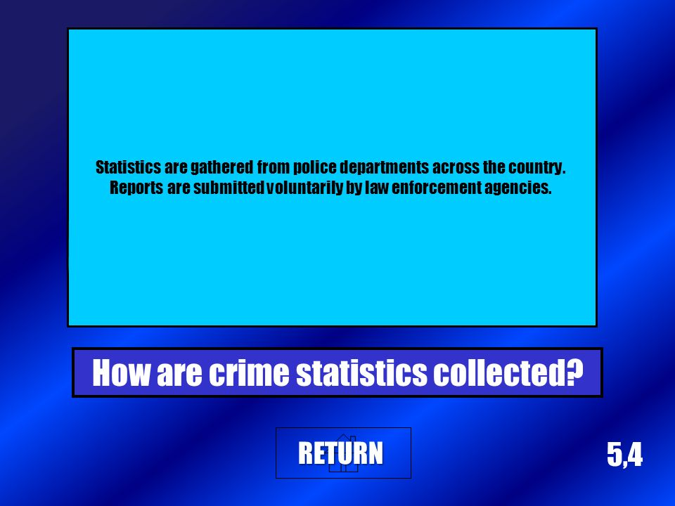 5,4 Statistics are gathered from police departments across the country.