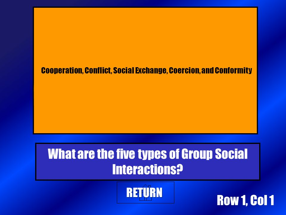 Row 1, Col 1 RETURN Cooperation, Conflict, Social Exchange, Coercion, and Conformity What are the five types of Group Social Interactions?