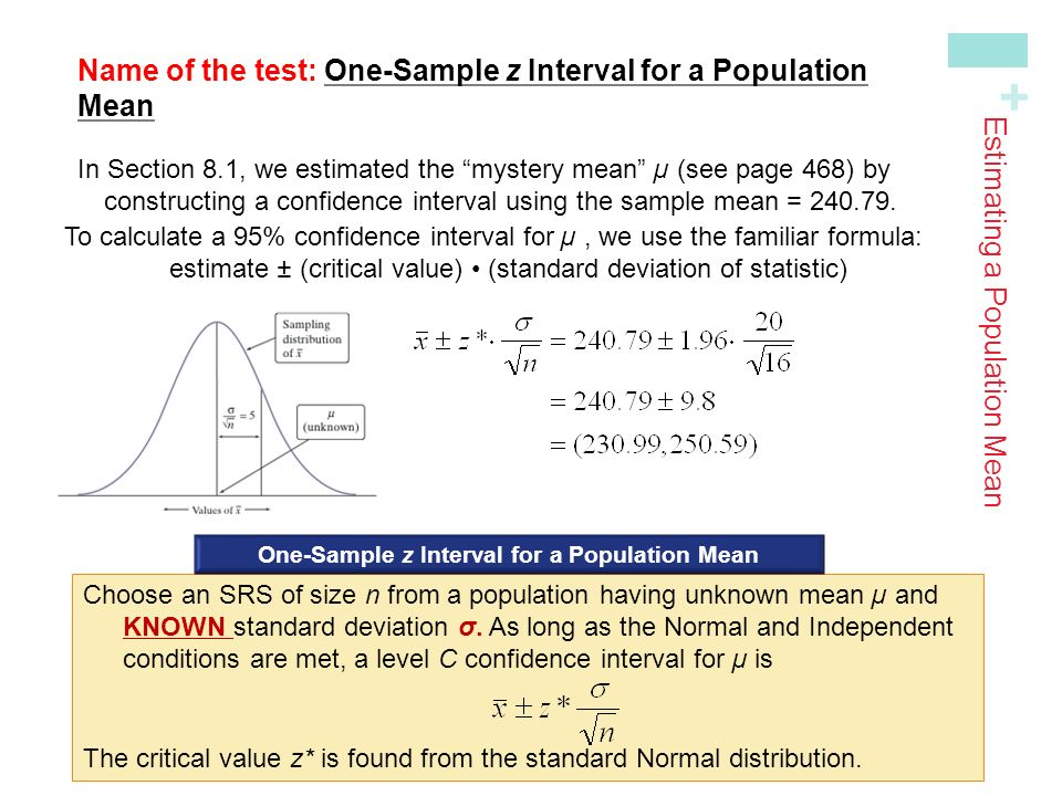 Chapter 8 estimating with confidence 81confidence intervals the name of the test one sample z interval for a population meanin section ccuart Images