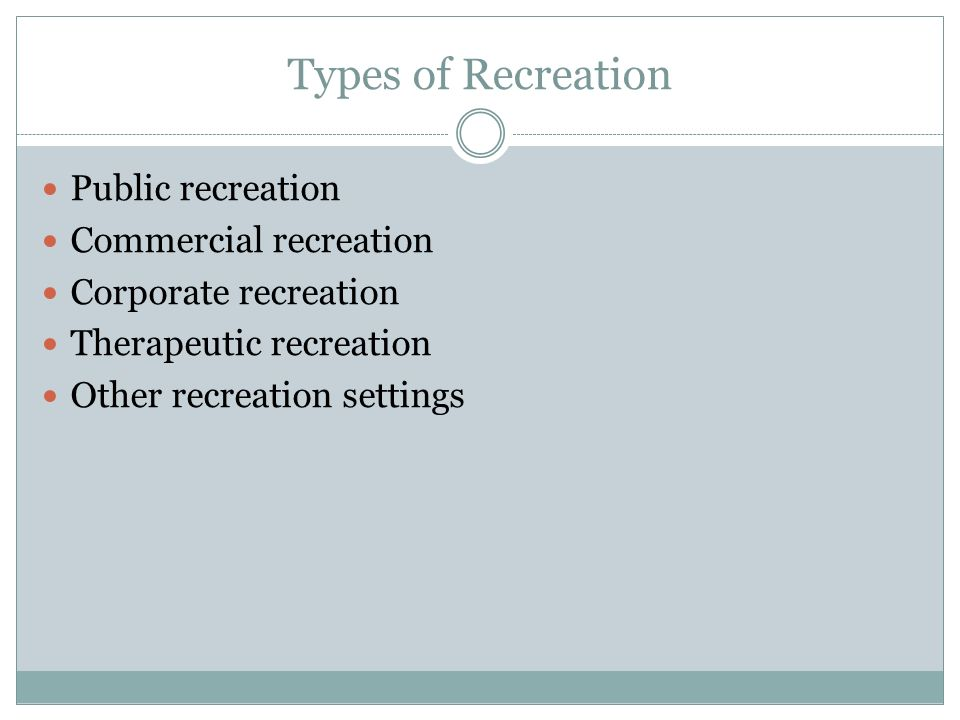 Types of Recreation Public recreation Commercial recreation Corporate recreation Therapeutic recreation Other recreation settings
