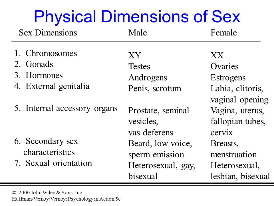 © 2000 John Wiley & Sons, Inc. Huffman/Vernoy/Vernoy: Psychology in Action 5e Physical Dimensions of Sex Sex DimensionsMaleFemale 1. Chromosomes 2. Go