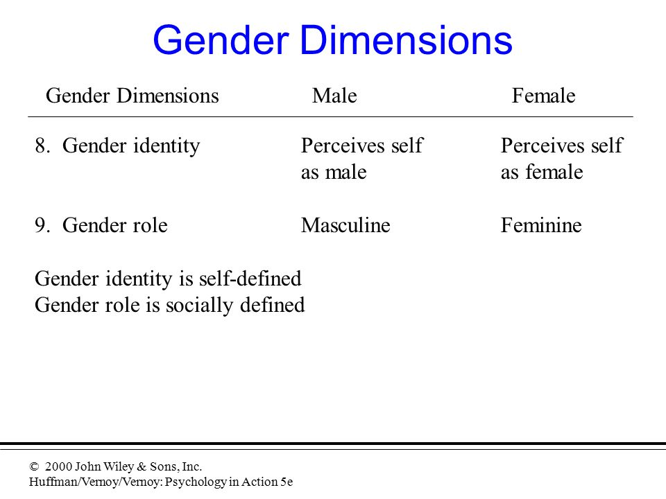 © 2000 John Wiley & Sons, Inc. Huffman/Vernoy/Vernoy: Psychology in Action 5e Gender Dimensions Gender DimensionsMaleFemale 8. Gender identityPerceive
