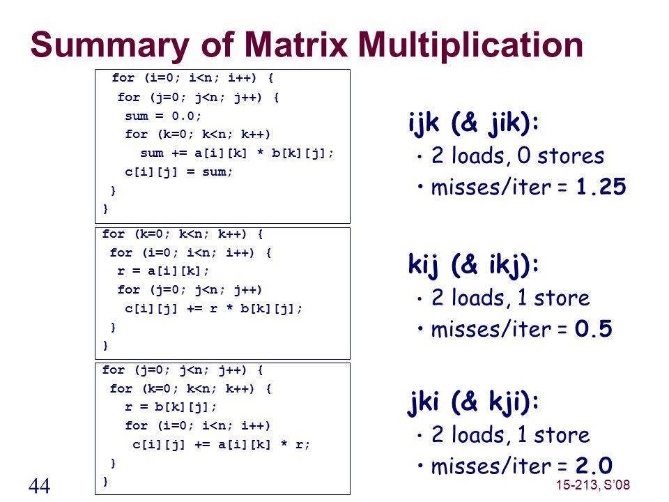 44 15-213, S'08 Summary of Matrix Multiplication ijk (& jik): 2 loads, 0 stores misses/iter = 1.25 kij (& ikj): 2 loads, 1 store misses/iter = 0.5 jki (& kji): 2 loads, 1 store misses/iter = 2.0 for (i=0; i<n; i++) { for (j=0; j<n; j++) { sum = 0.0; for (k=0; k<n; k++) sum += a[i][k] * b[k][j]; c[i][j] = sum; } for (k=0; k<n; k++) { for (i=0; i<n; i++) { r = a[i][k]; for (j=0; j<n; j++) c[i][j] += r * b[k][j]; } for (j=0; j<n; j++) { for (k=0; k<n; k++) { r = b[k][j]; for (i=0; i<n; i++) c[i][j] += a[i][k] * r; }