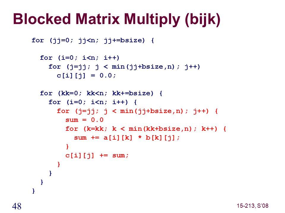 48 15-213, S'08 Blocked Matrix Multiply (bijk) for (jj=0; jj<n; jj+=bsize) { for (i=0; i<n; i++) for (j=jj; j < min(jj+bsize,n); j++) c[i][j] = 0.0; for (kk=0; kk<n; kk+=bsize) { for (i=0; i<n; i++) { for (j=jj; j < min(jj+bsize,n); j++) { sum = 0.0 for (k=kk; k < min(kk+bsize,n); k++) { sum += a[i][k] * b[k][j]; } c[i][j] += sum; }