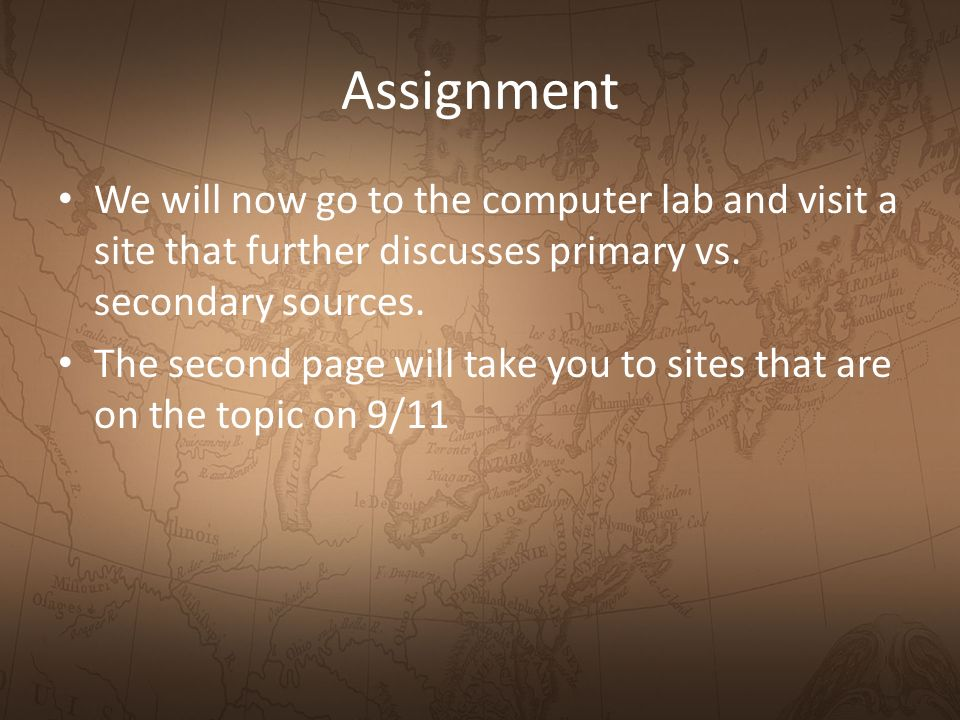 Assignment We will now go to the computer lab and visit a site that further discusses primary vs.