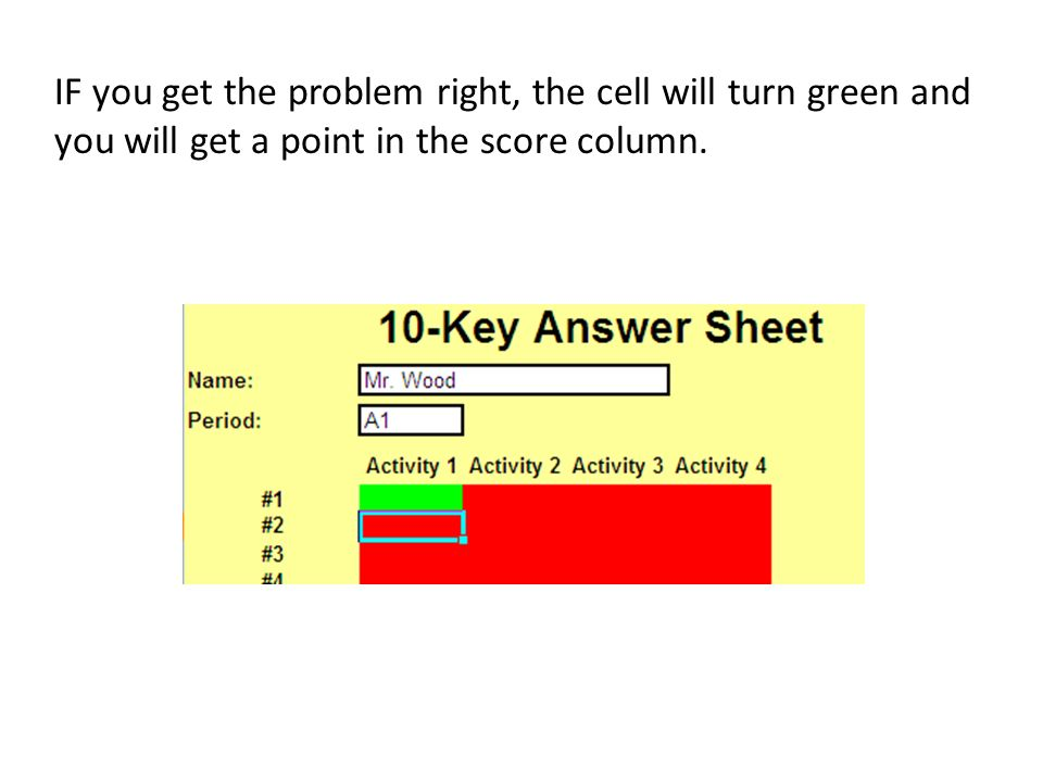 IF you get the problem right, the cell will turn green and you will get a point in the score column.