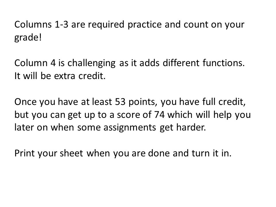 Columns 1-3 are required practice and count on your grade.