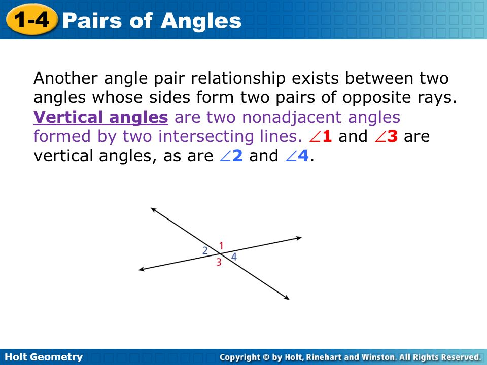 Holt Geometry 1-4 Pairs of Angles 1-4 Pairs of Angles Holt ...