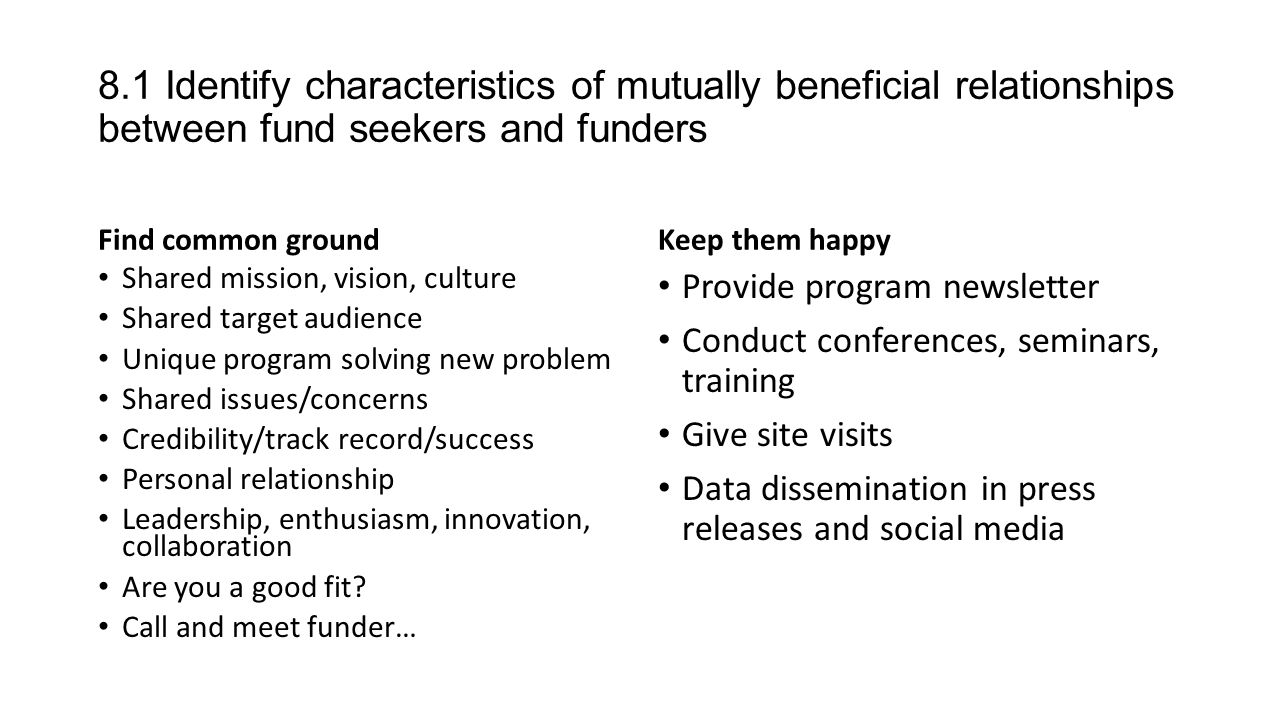 8.1 Identify characteristics of mutually beneficial relationships between  fund seekers and funders Find common ground Shared