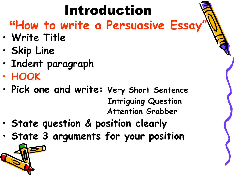 parts of a persuasive essay intro Can you do my assigment persuasive essay intro where to buy thesis 2010 there are three parts to a persuasive essay: part one-introduction paragraphs part.