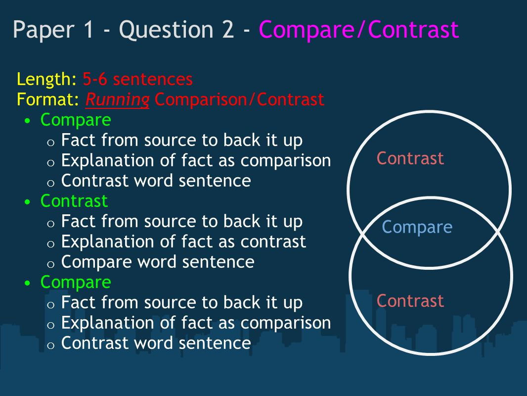 english contrast essay To write a compare/contrast essay, you'll need to make new connections and/or express new differences between two things the key word hereis new.
