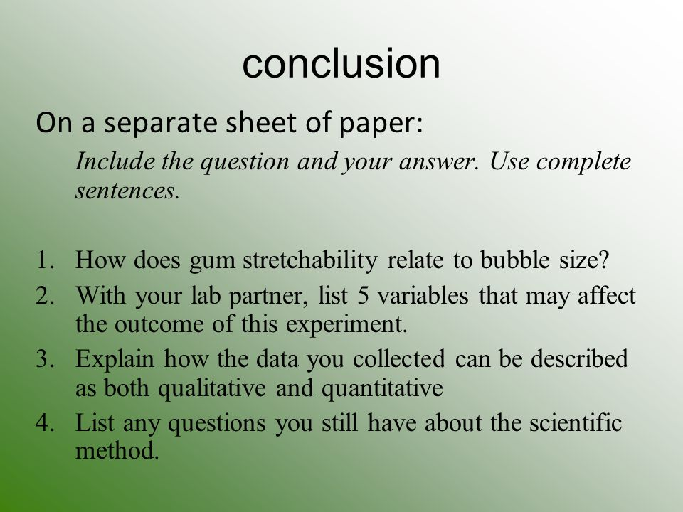 lab experiment 7 questions and conclusion Quick answers to frequently asked questions what is a lab report lab reports make a major this kind of paper is designed to protocol what the experiment was.