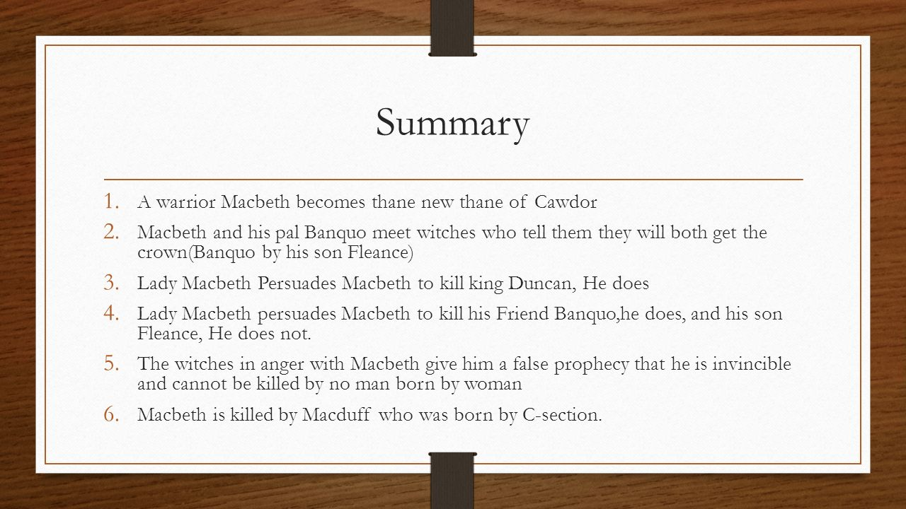 a summary of macbeth by shakespeare Need help with act 1, scene 3 in william shakespeare's macbeth check out our revolutionary side-by-side summary and analysis.