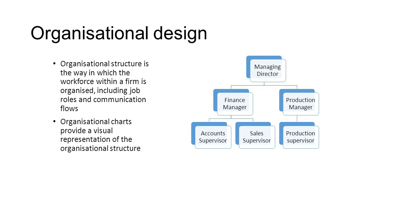Organisational design Organisational structure is the way in which the workforce within a firm is organised, including job roles and communication flo
