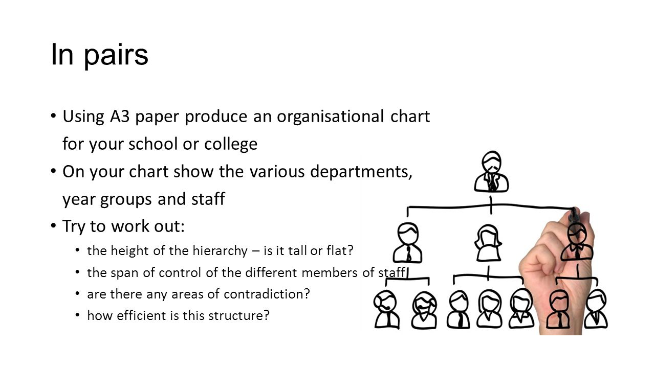 In pairs Using A3 paper produce an organisational chart for your school or college On your chart show the various departments, year groups and staff T