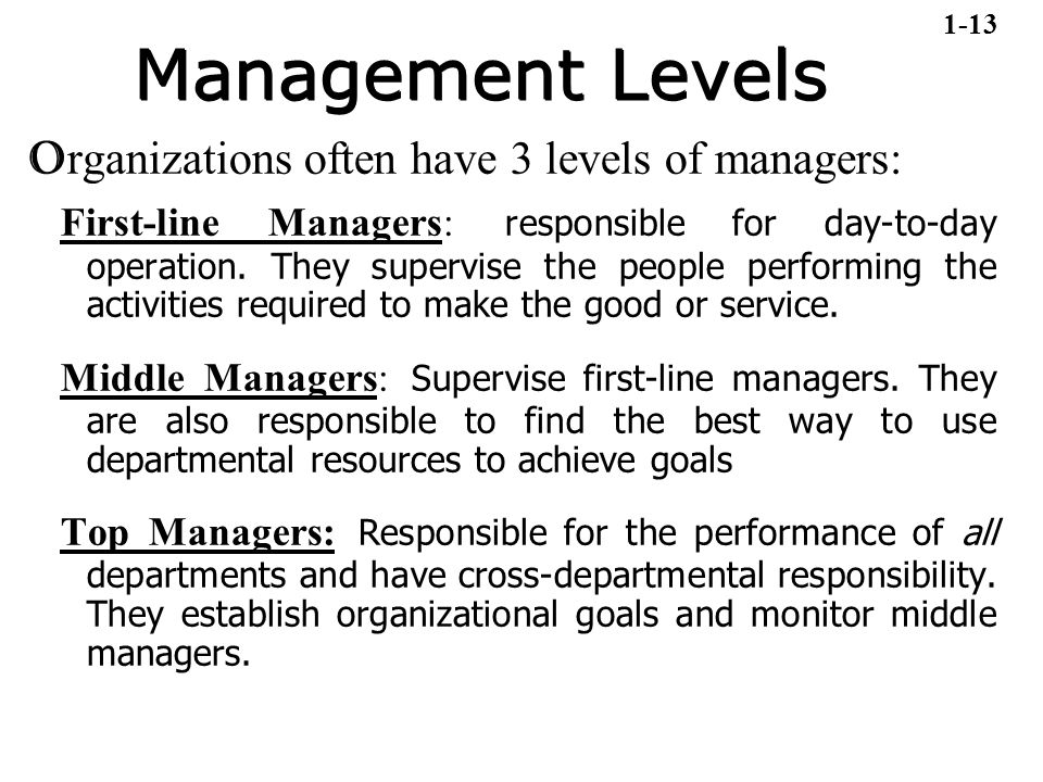 Management Levels O rganizations often have 3 levels of managers: First-line Managers: responsible for day-to-day operation. They supervise the people