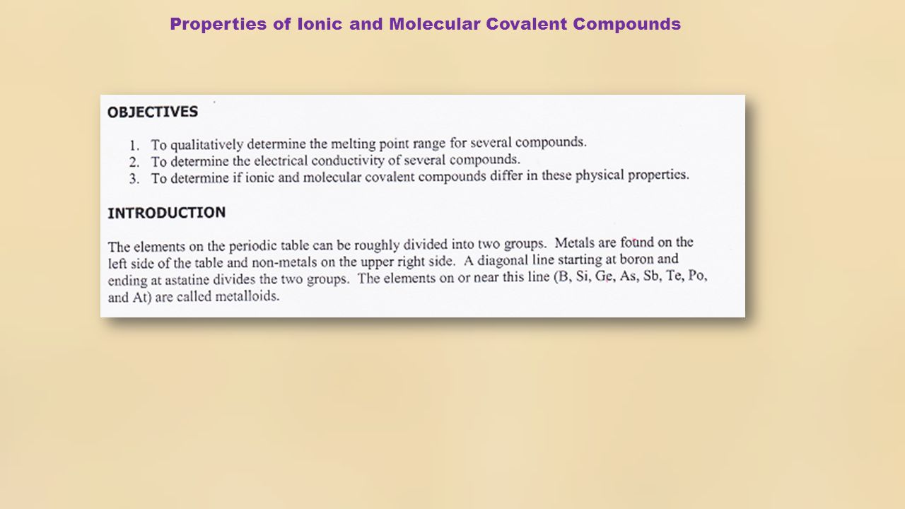 Experiment 4 properties of ionic and molecular covalent compounds 3 the periodic table of elements non metals metals metalloids non metals gamestrikefo Images