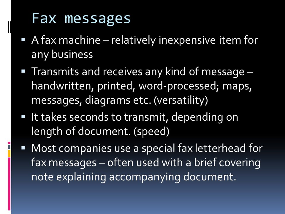 Unit 7 Fax messages. Overview  Fax messages  Dealing with fax ...
