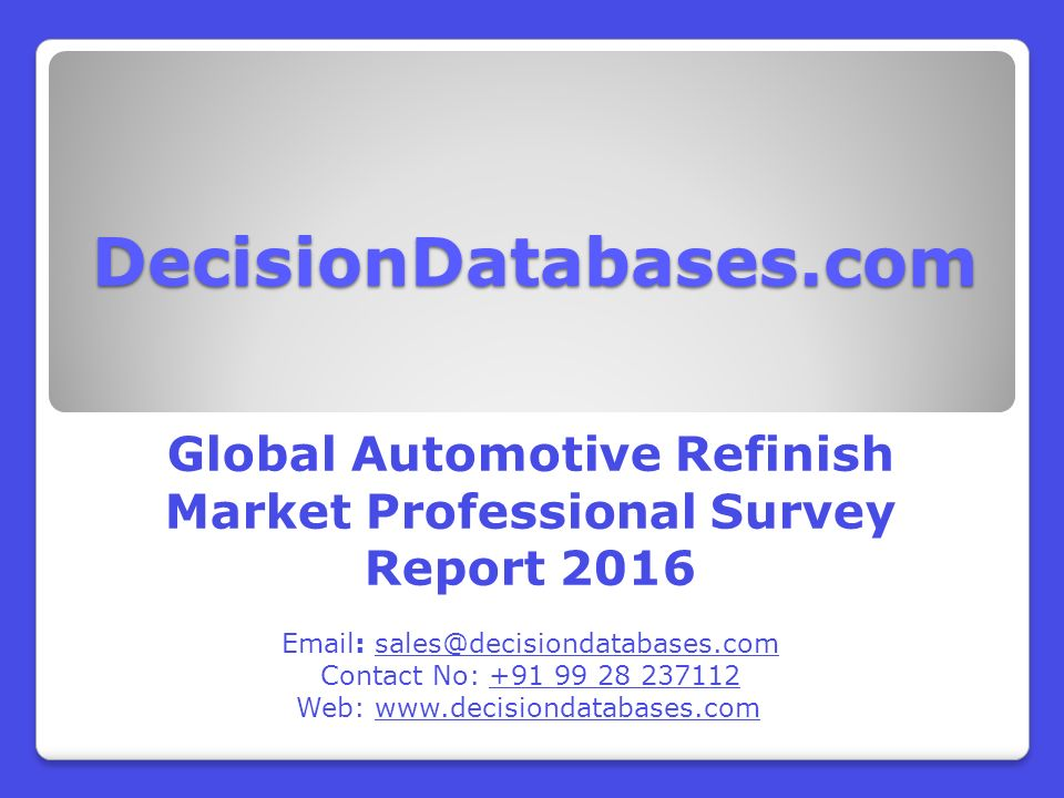 Worldwide Automotive Refinish Industry Key Manufacturers Analysis ...