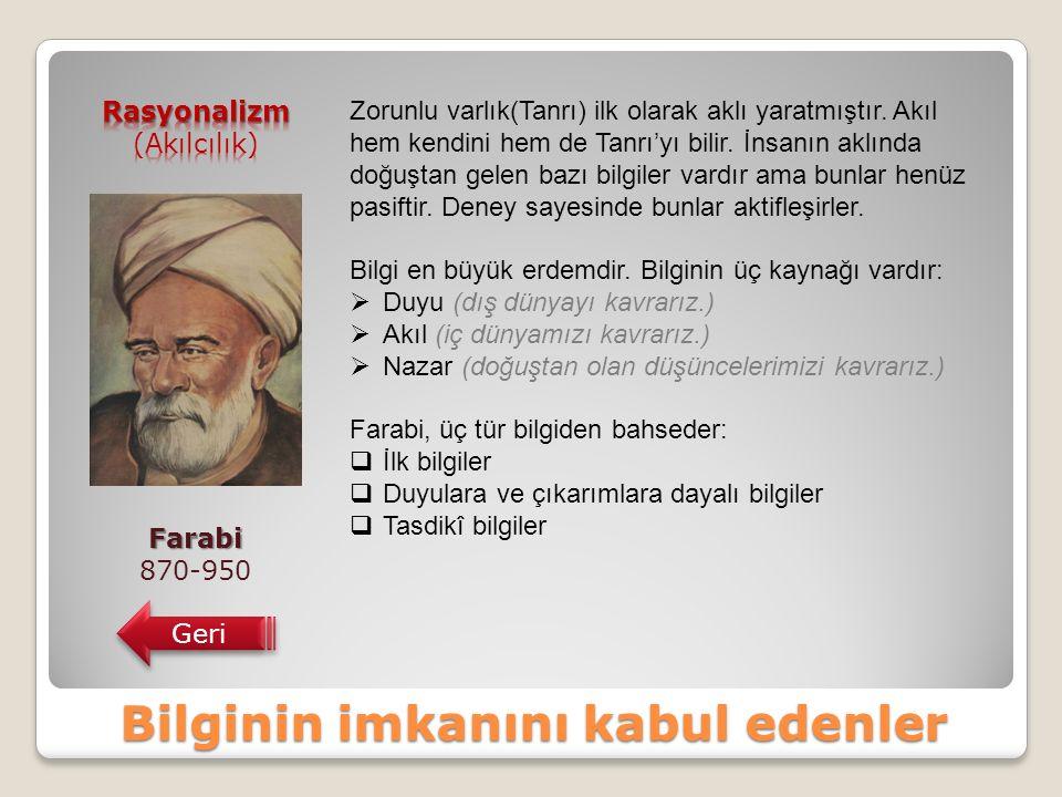 Bilginin imkanını kabul edenler Farabi 870-950 Geri Zorunlu varlık(Tanrı) ilk olarak aklı yaratmıştır.
