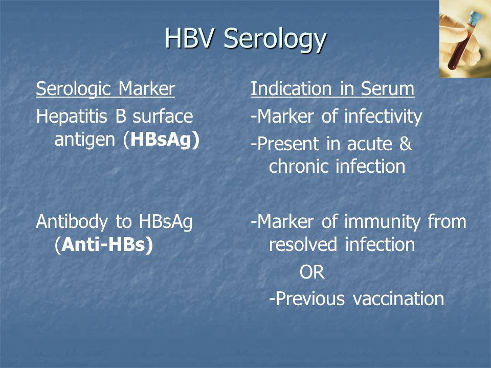 Serologic Marker Hepatitis B surface antigen (HBsAg) Antibody to HBsAg (Anti-HBs) Indication in Serum -Marker of infectivity -Present in acute & chronic infection -Marker of immunity from resolved infection OR -Previous vaccination
