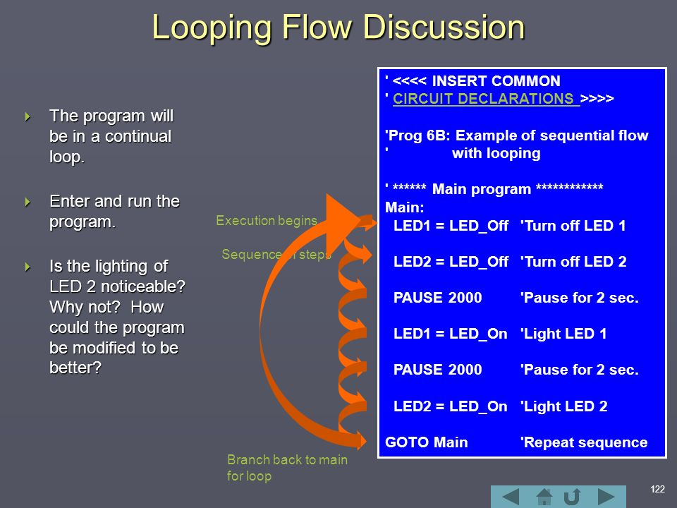 122 Looping Flow Discussion  The program will be in a continual loop.