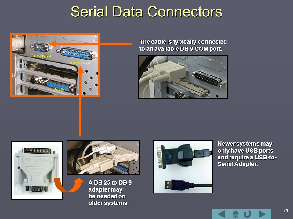 15 Serial Data Connectors The cable is typically connected to an available DB 9 COM port.