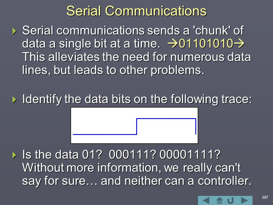 207  Serial communications sends a chunk of data a single bit at a time.
