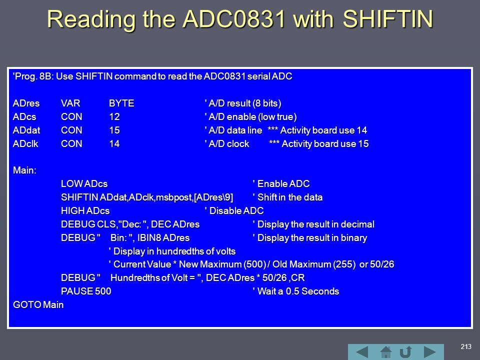 213 Reading the ADC0831 with SHIFTIN Prog.