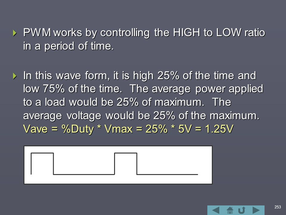 253  PWM works by controlling the HIGH to LOW ratio in a period of time.