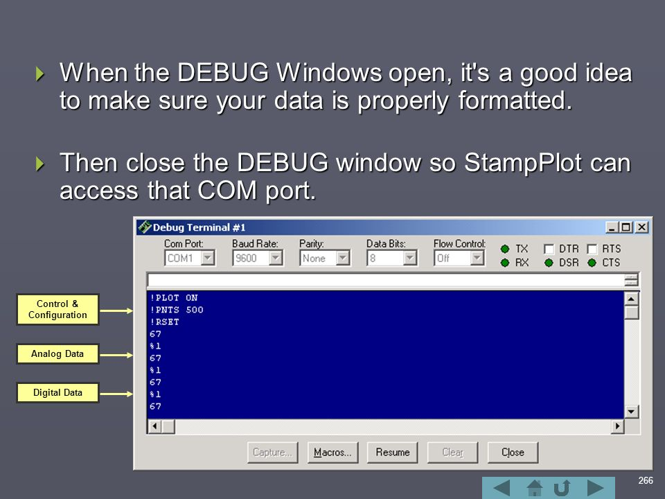 266  When the DEBUG Windows open, it s a good idea to make sure your data is properly formatted.