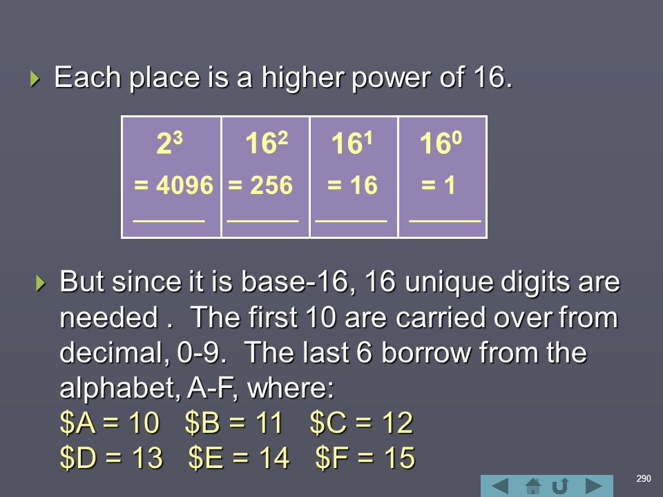 290  Each place is a higher power of 16.