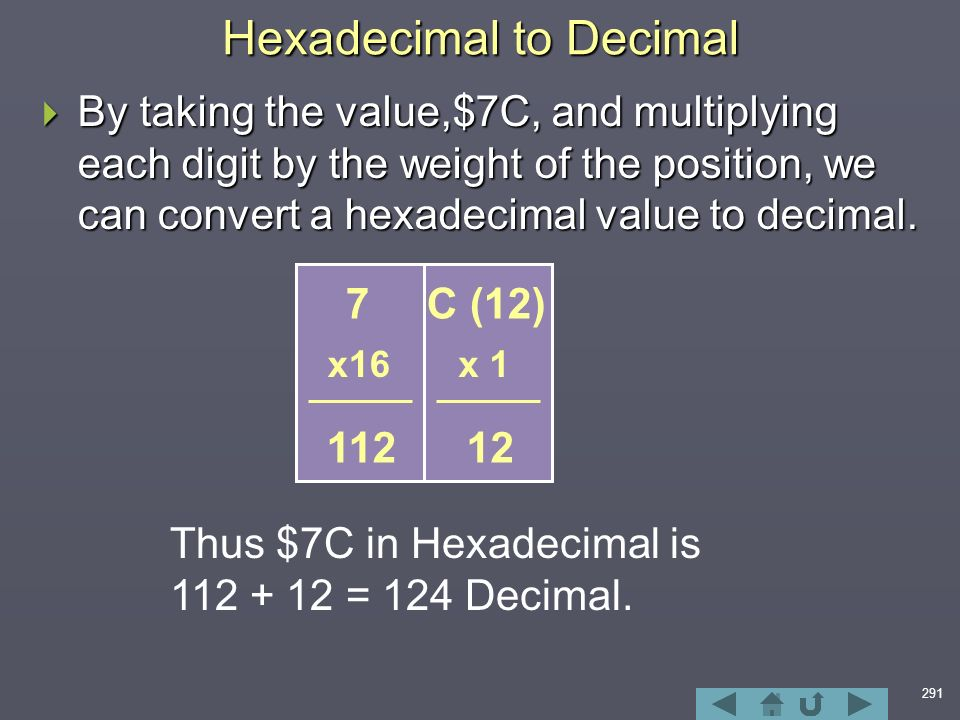 291 Hexadecimal to Decimal  By taking the value,$7C, and multiplying each digit by the weight of the position, we can convert a hexadecimal value to decimal.