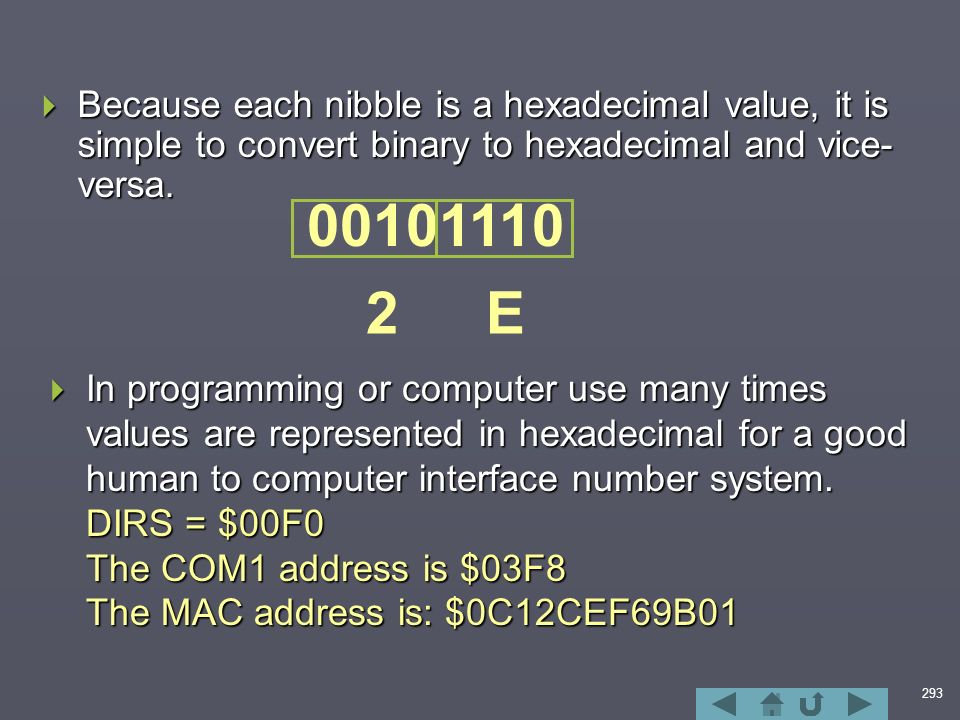 293  Because each nibble is a hexadecimal value, it is simple to convert binary to hexadecimal and vice- versa.
