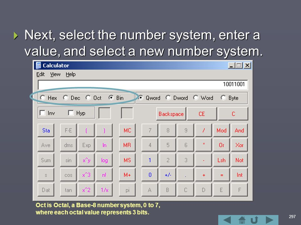 297  Next, select the number system, enter a value, and select a new number system.