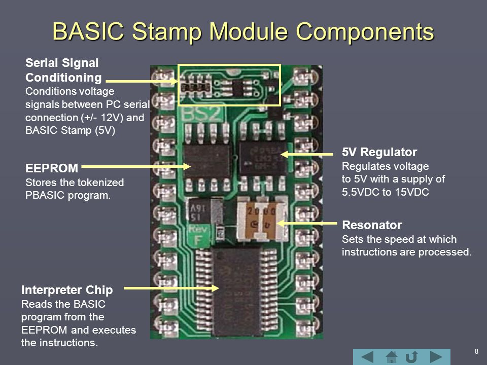 8 BASIC Stamp Module Components 5V Regulator Regulates voltage to 5V with a supply of 5.5VDC to 15VDC Resonator Sets the speed at which instructions are processed.
