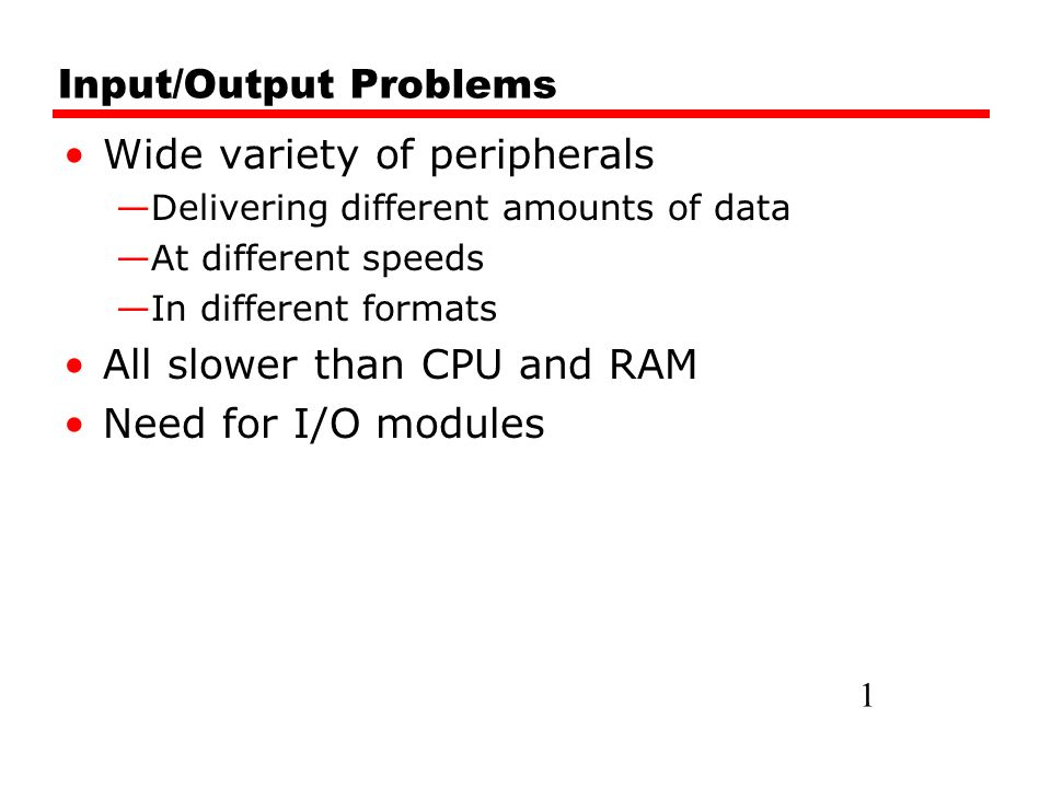 Input/Output Problems Wide variety of peripherals —Delivering different amounts of data —At different speeds —In different formats All slower than CPU and RAM Need for I/O modules 1
