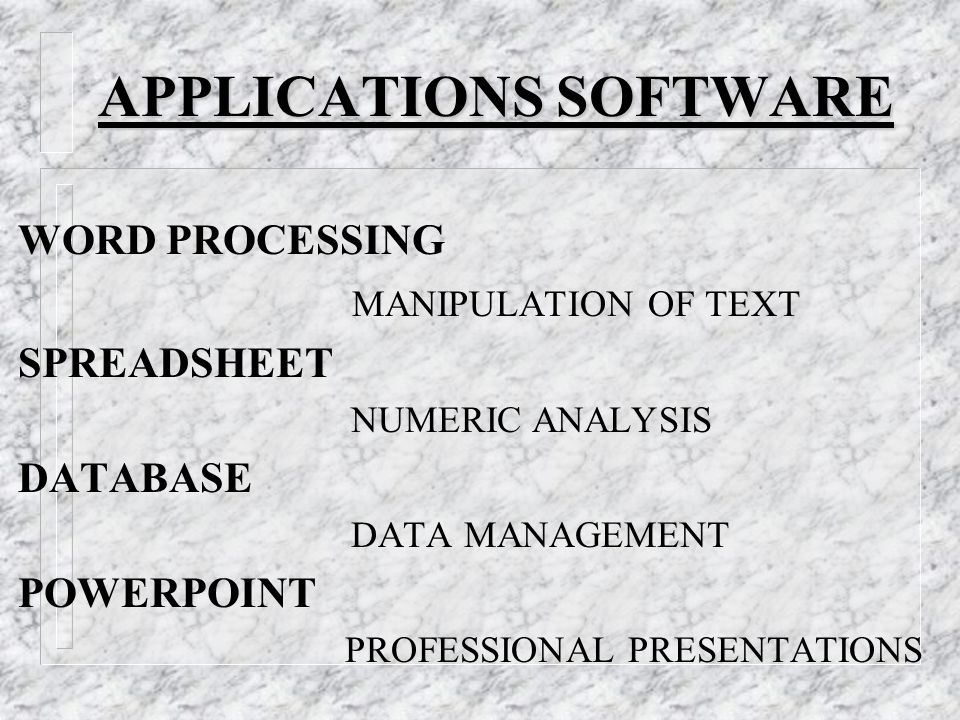 APPLICATIONS SOFTWARE WORD PROCESSING MANIPULATION OF TEXT SPREADSHEET NUMERIC ANALYSIS DATABASE DATA MANAGEMENT POWERPOINT PROFESSIONAL PRESENTATIONS