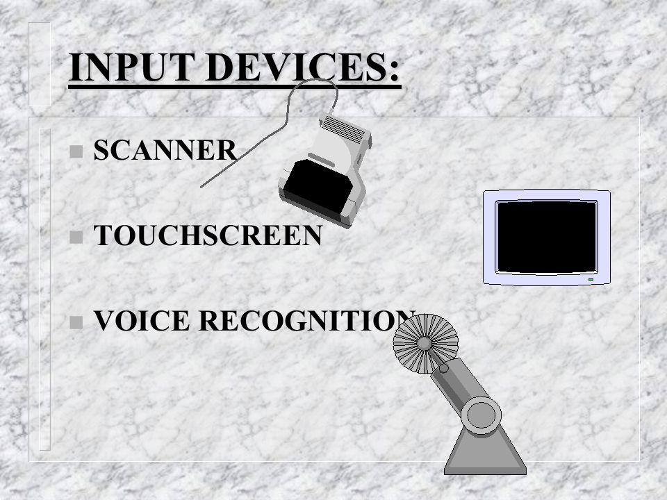 INPUT DEVICES: n SCANNER n TOUCHSCREEN n VOICE RECOGNITION