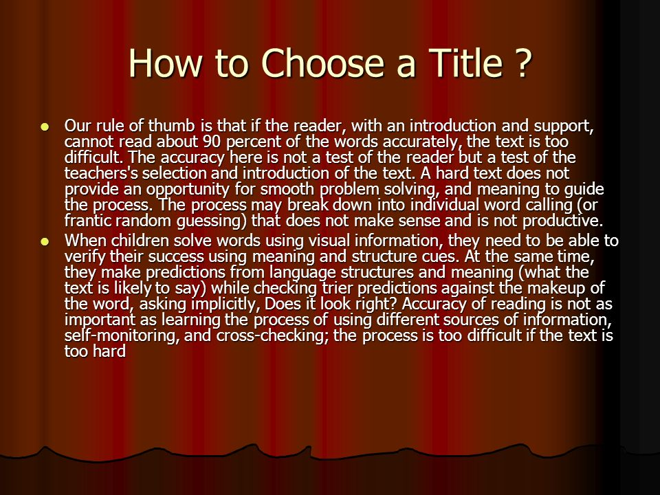 How to Choose a Title .