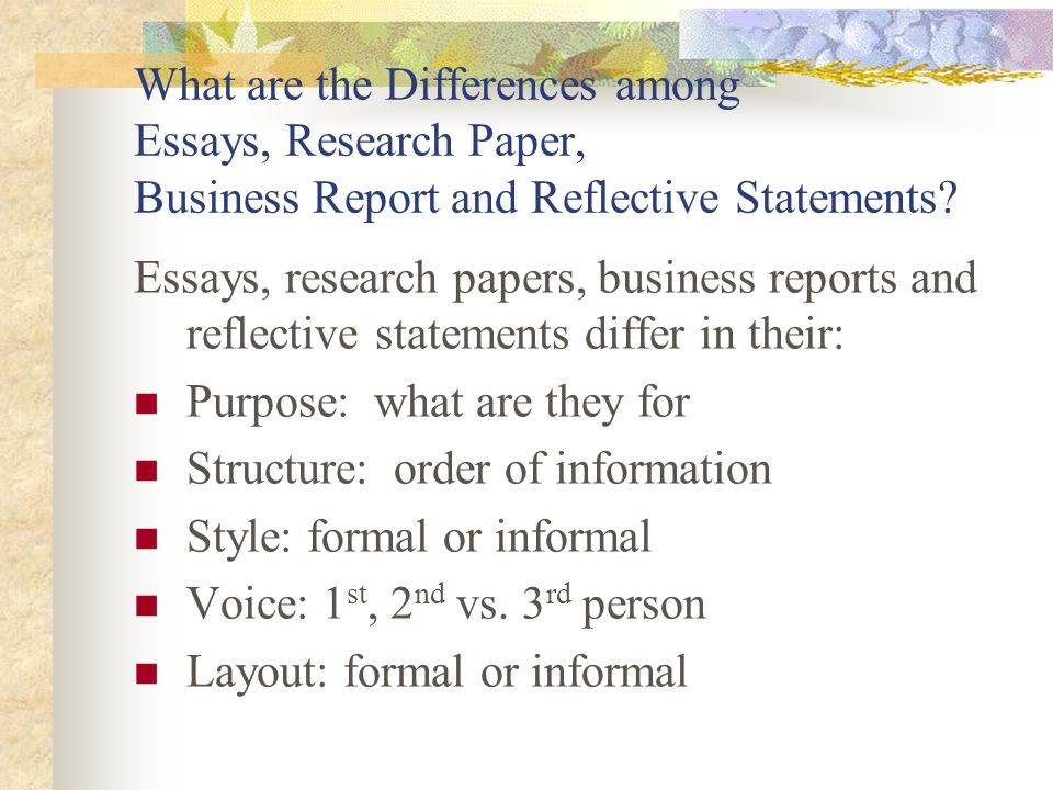 Thesis In A Essay What Are The Differences Among Essays Research Paper Business Report And  Reflective Statements English Essay Com also How To Write An Essay For High School Dr Malinda Hill Advanced English Ca Designing Essays Research  Compare And Contrast Essay On High School And College