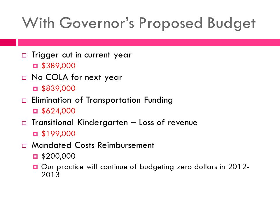 With Governor's Proposed Budget  Trigger cut in current year  $389,000  No COLA for next year  $839,000  Elimination of Transportation Funding  $624,000  Transitional Kindergarten – Loss of revenue  $199,000  Mandated Costs Reimbursement  $200,000  Our practice will continue of budgeting zero dollars in
