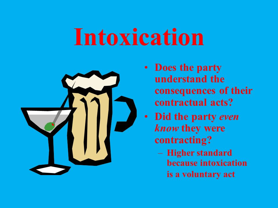 Mental Incapacity Does the party understand the consequences of their contractual acts.