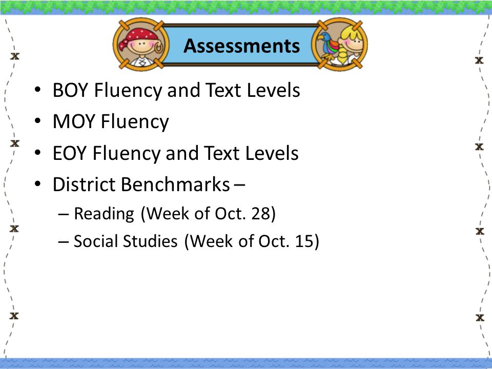 Assessments BOY Fluency and Text Levels MOY Fluency EOY Fluency and Text Levels District Benchmarks – – Reading (Week of Oct.